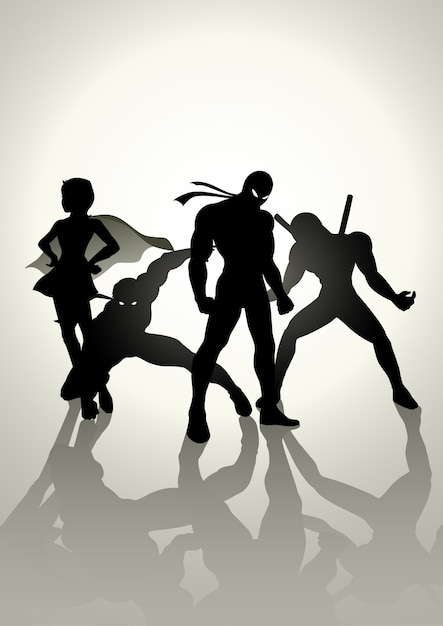 Superhelden teams up Premium Vektoren