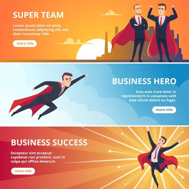 Superheldengeschäft s. geschäftskonzeptillustrationen der männlichen charaktere Premium Vektoren