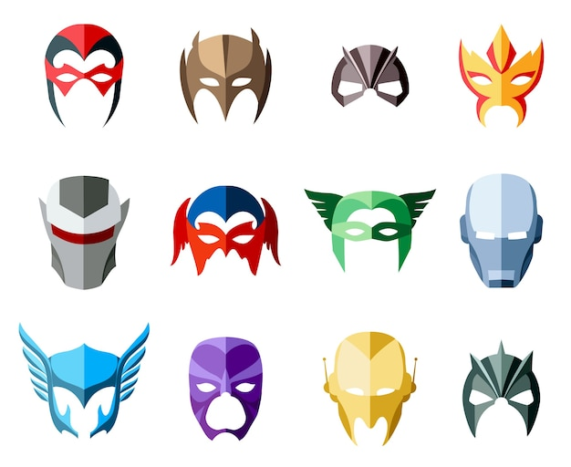 Superheldenmasken für gesicht im flachen stil. Kostenlosen Vektoren