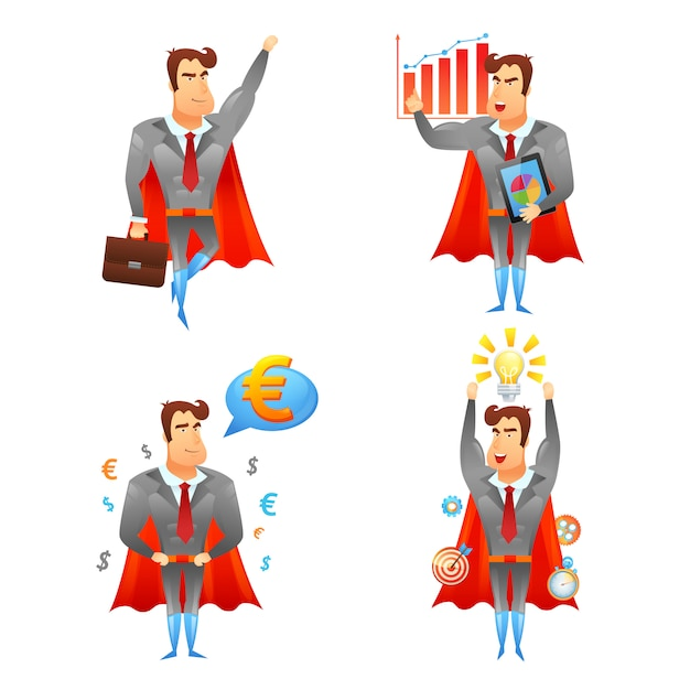 Superheldgeschäftsmann-charakterikonen eingestellt Kostenlosen Vektoren