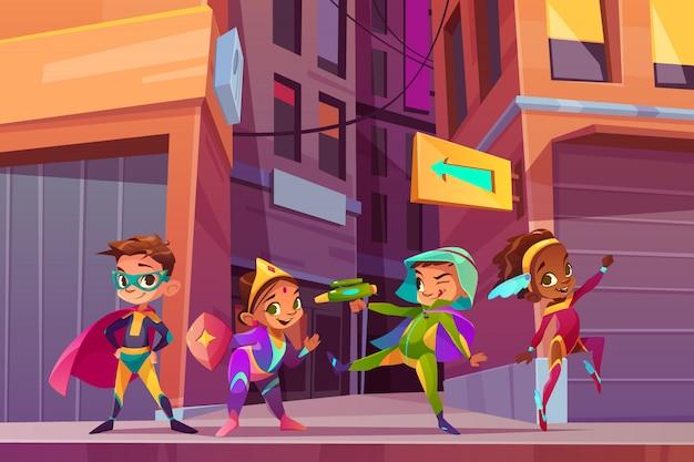 Superheldkinder auf stadtstraßenkarikatur-vektorkonzept mit dem glücklichen lächeln Kostenlosen Vektoren