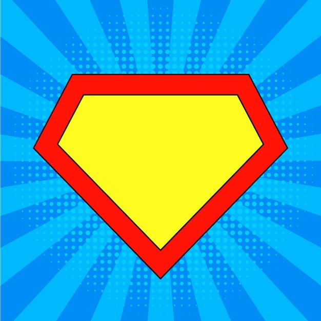 Superheldlogoschablone am hellen blau, pop-arten-hintergrund. Premium Vektoren
