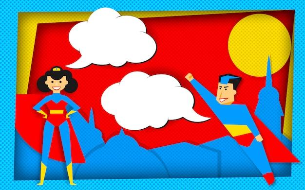 Superheldschablone in der comicsart mit leeren blasen Premium Vektoren