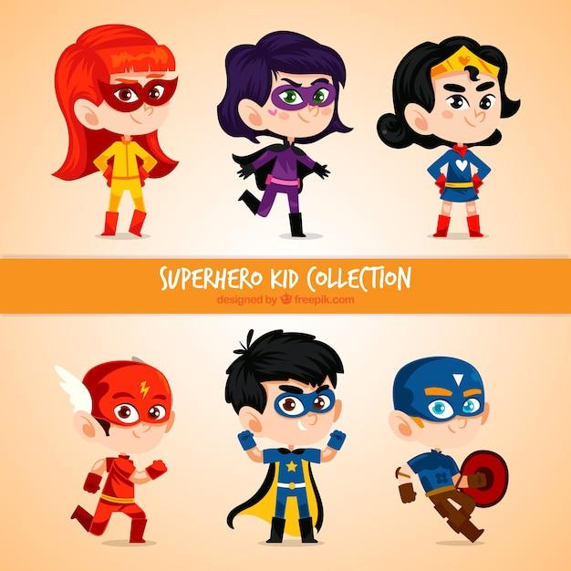 Superhero kid Satz Kostenlose Vektoren