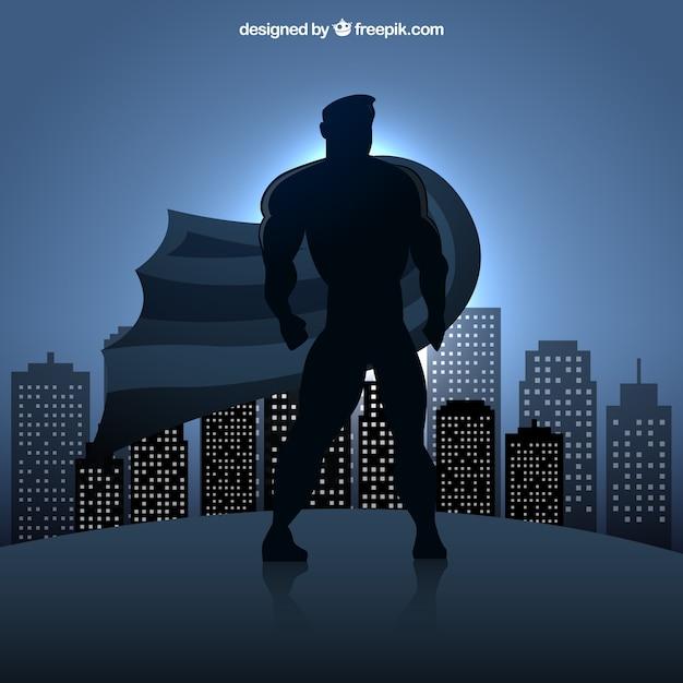 Superhero silhouette Kostenlosen Vektoren