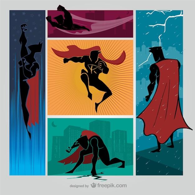 Superhero silhouetten Kostenlosen Vektoren