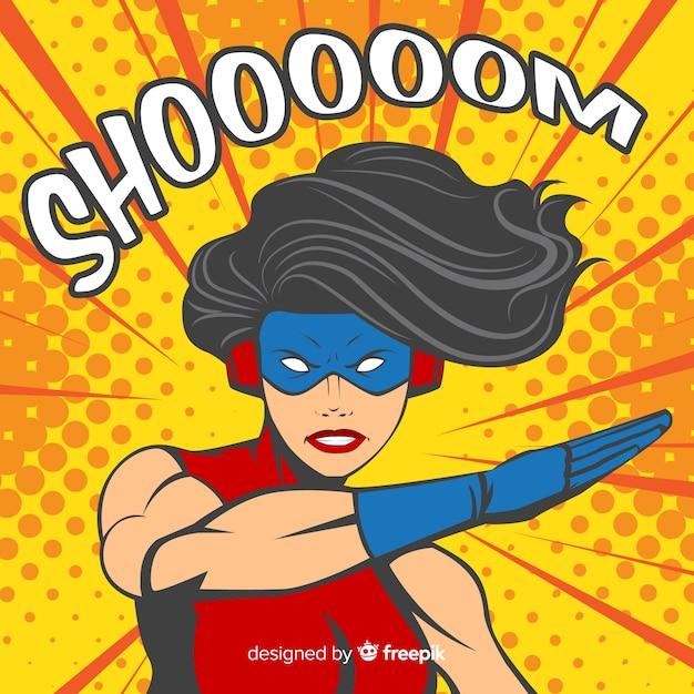 Superheroine charakter mit pop-art-stil Kostenlosen Vektoren