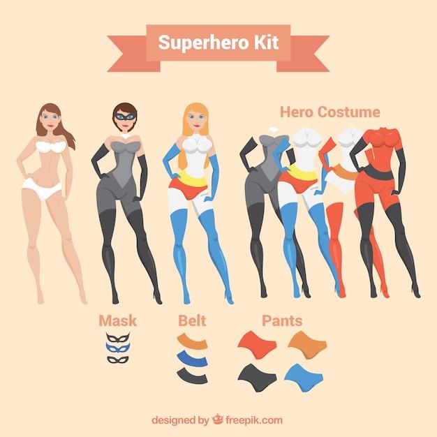 Superheroine mit ergänzungen Kostenlosen Vektoren