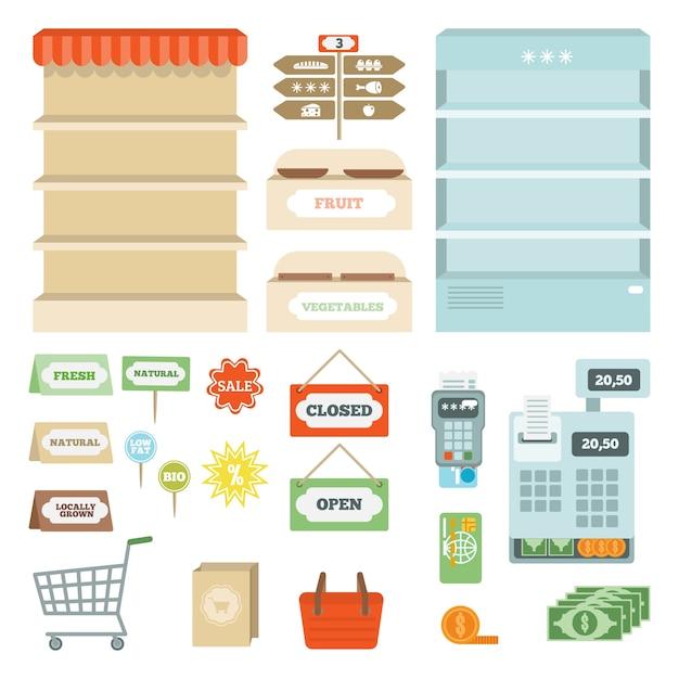 Supermarkt-elemente festgelegt Kostenlosen Vektoren