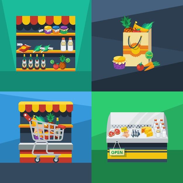 Supermarkt flaches design-konzept Kostenlosen Vektoren