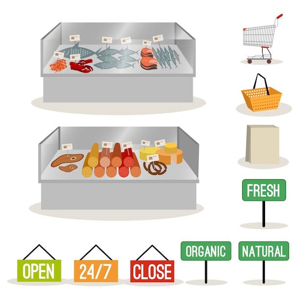 Supermarkt fleisch fisch Premium Vektoren