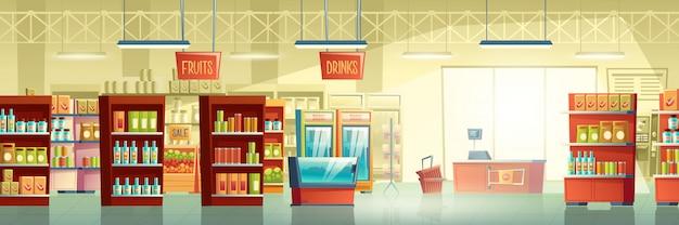 Supermarkt-handelsraum-karton-vektorinnenraum Kostenlosen Vektoren