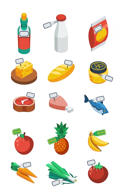 Supermarkt isometrische flache icons Kostenlosen Vektoren