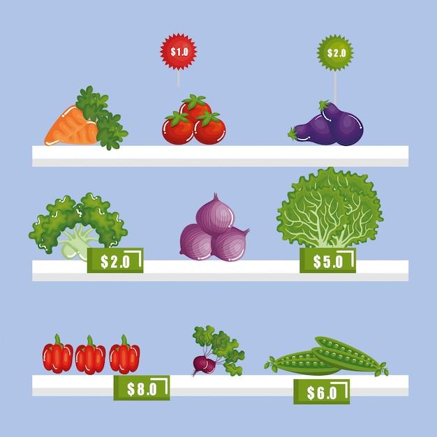 Supermarkt lebensmittel im regal Kostenlosen Vektoren