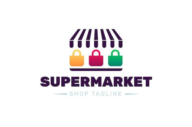 Supermarkt-logo-design mit shop-slogan Kostenlosen Vektoren