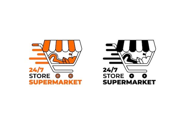 Supermarkt-logo in zwei versionen Kostenlosen Vektoren