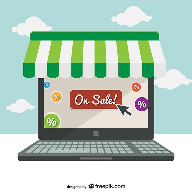 Supermarkt online-laptop-konzept illustration Kostenlosen Vektoren