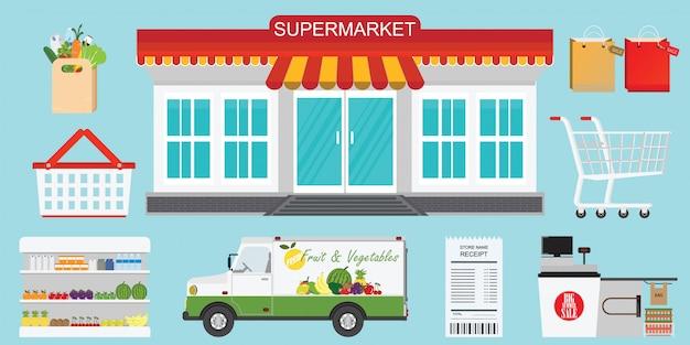 Supermarkt-store-konzept. Premium Vektoren