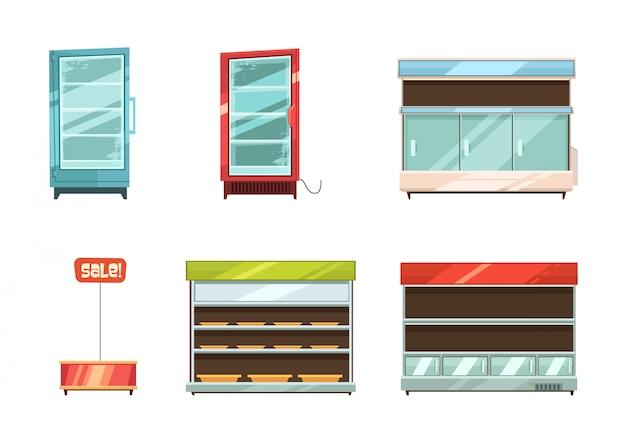 Supermarkt- und lebensmittelgeschäftgeschichten zeigen gestellgangkühlschrank an und retro- karikatur des verkaufsstandes Kostenlosen Vektoren