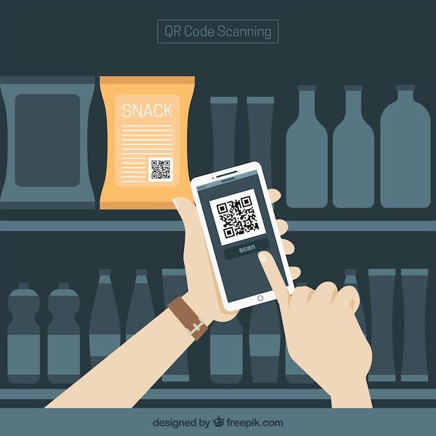 Supermarkt und mobile hintergrund mit qr-code Kostenlosen Vektoren