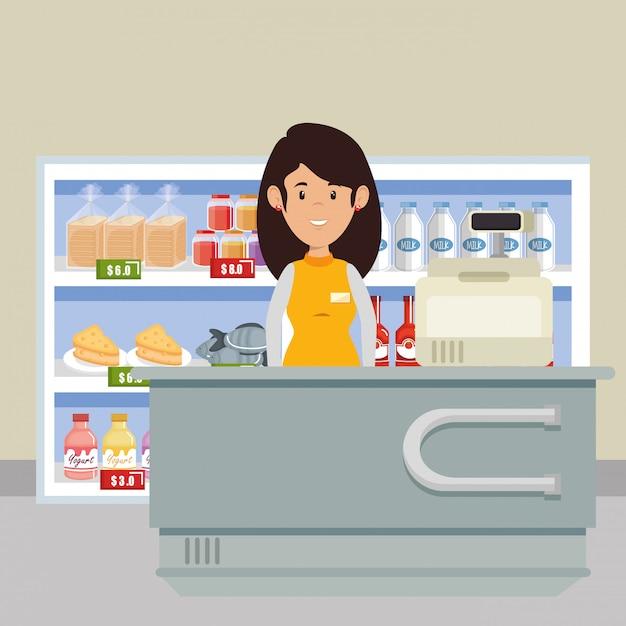 Supermarkt verkäufer frau charakter Kostenlosen Vektoren