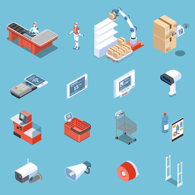 Supermarkt von den zukünftigen isometrischen ikonen stellte vom scanner für den elektronischen preis der käuferroboterentlader-diebstahlsicherungstüren ein, der lokalisiert wurde Kostenlosen Vektoren