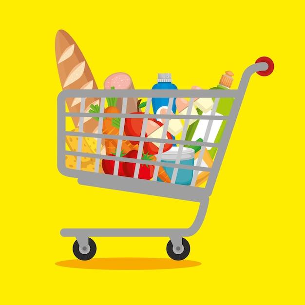 Supermarktprodukte im einkaufswagen Premium Vektoren