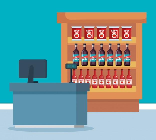 Supermarktregal mit produkten und verkaufsstelle Kostenlosen Vektoren