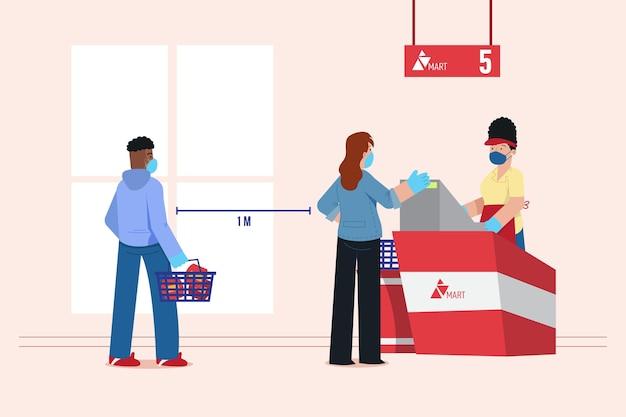 Supermarktschlange mit sicherheitsabstand Kostenlosen Vektoren
