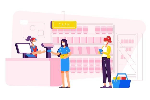 Supermarktwarteschlange mit sicherheitsabstandskonzept Kostenlosen Vektoren