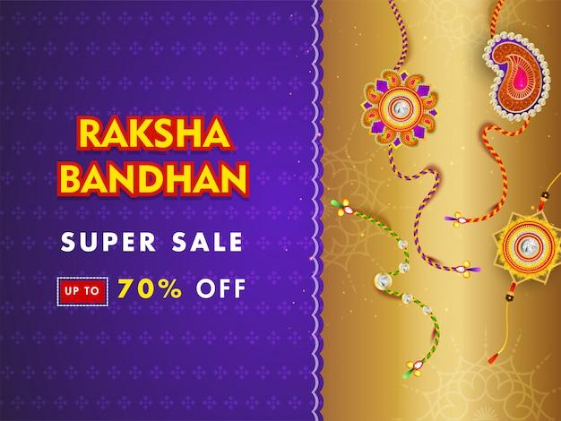 Superverkaufsfahnen- oder -plakatdesign mit 70% rabattangebot und unterschiedlichem rakhi (armbänder) auf purpurrotem und goldenem hintergrund. Premium Vektoren