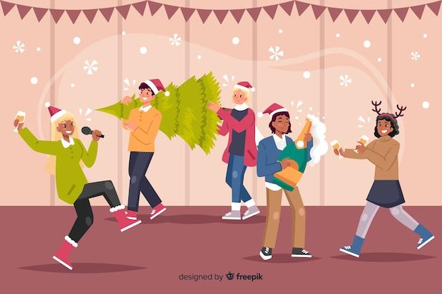 Superweihnachtsfeier mit karaoke- und geschenkkarikatur Kostenlosen Vektoren