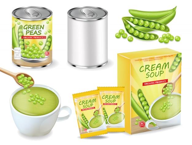 Suppe der grünen erbsen und kann realistische sammlung Premium Vektoren