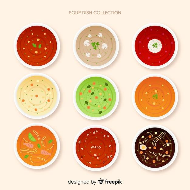 Suppenteller-sammlung Kostenlosen Vektoren