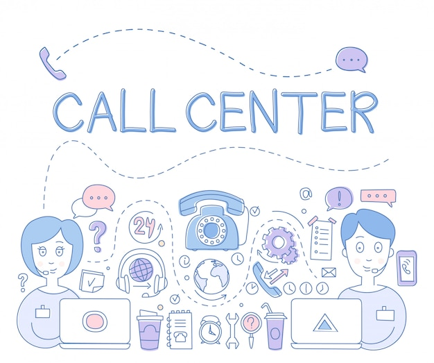 Support call center. illustration Premium Vektoren