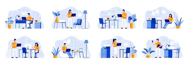 Support-service-szenen werden mit personencharakteren gebündelt. helpline-bediener mit headset arbeiten in bürosituationen mit dem computer. online-beratung und unterstützung in der flachen abbildung eines callcenters Premium Vektoren