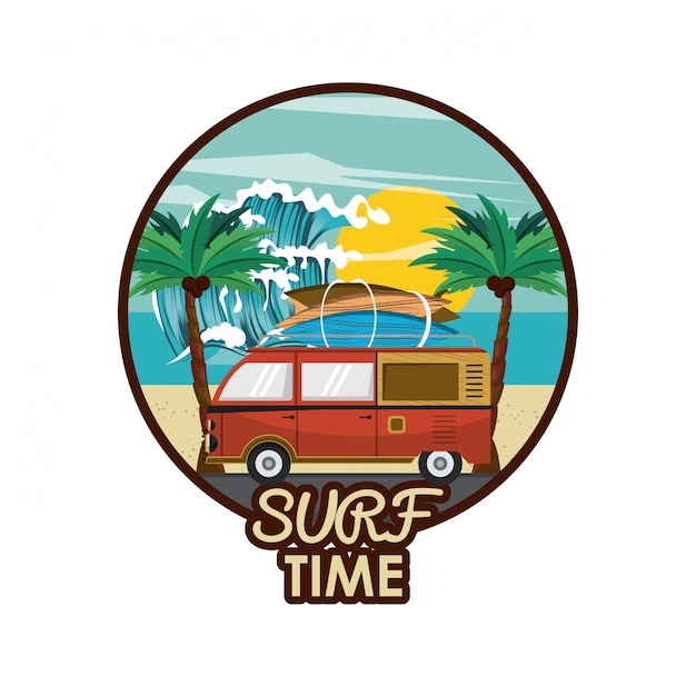 Surf-zeit-cartoon Premium Vektoren