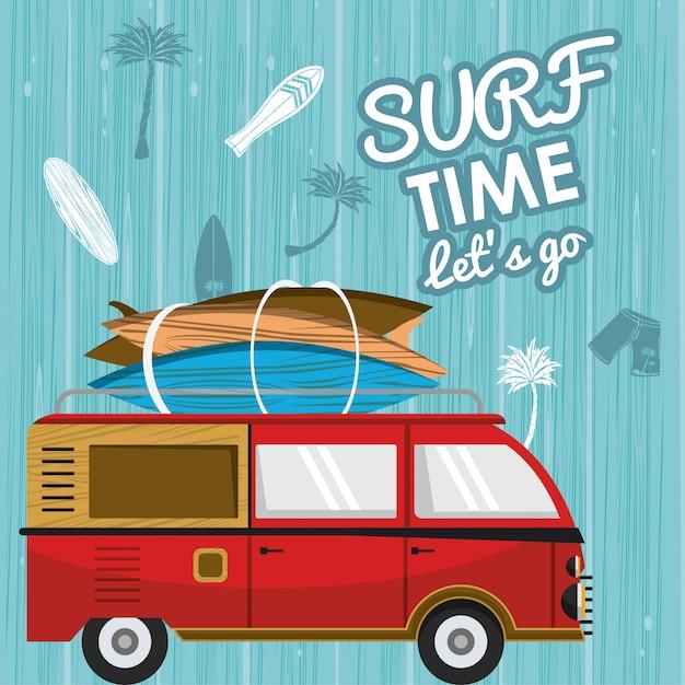 Surf-zeitkarte Premium Vektoren