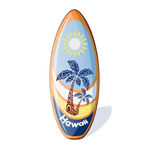 Surfbrett mit einem muster aus palmen und sonne. Premium Vektoren