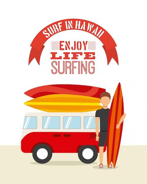 Surfen sport Premium Vektoren