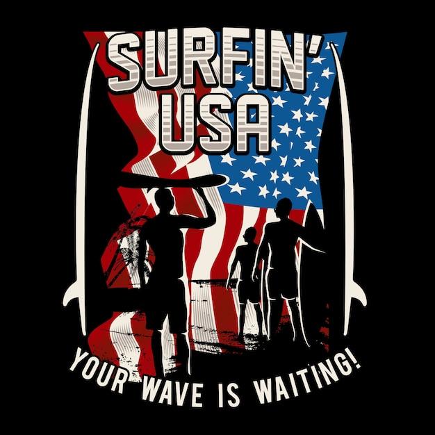 Surfen usa Premium Vektoren