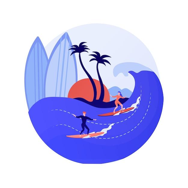 Surfender schüler. wassersport, individuelles training, sommererholung. junges mädchen, das lernt, auf surfbrett zu balancieren. weibliche surferreitwelle. vektor isolierte konzeptmetapherillustration Kostenlosen Vektoren