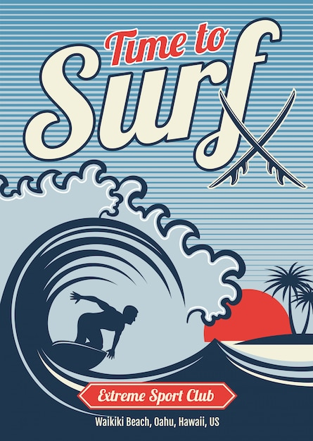 Surfendes hawaii-t-shirt weinlesedesign Premium Vektoren