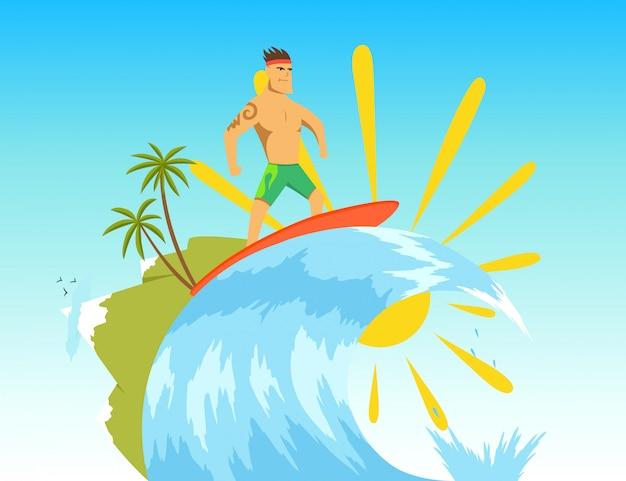 Surfer auf der welle. abbildung im flachen stil. Premium Vektoren
