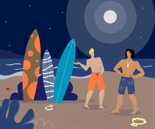 Surfer-freunde auf strand-flachen vektor-charakteren Premium Vektoren