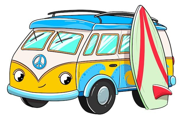 Surfer van mit glücklichem gesicht zusammen mit einem surfbrett Premium Vektoren