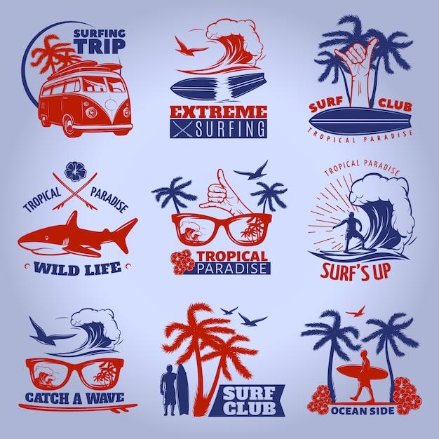 Surfing emblem auf dunkel gesetzt mit surfing trip extremes surfen tropisches paradies wild life beschreibungen vektor-illustration Kostenlosen Vektoren