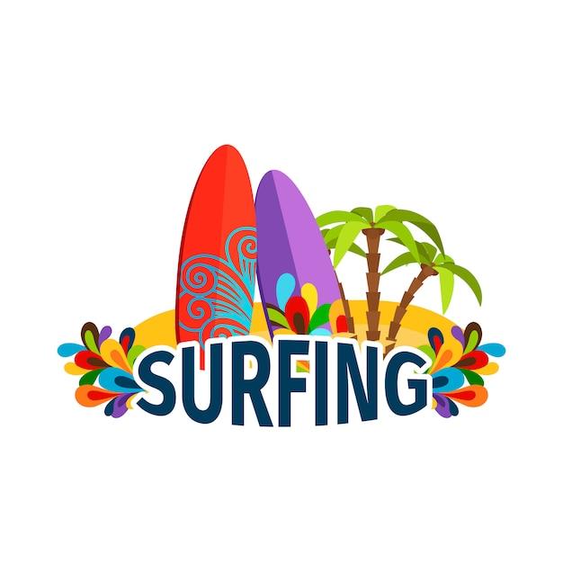 Surfplakat mit palmen Premium Vektoren