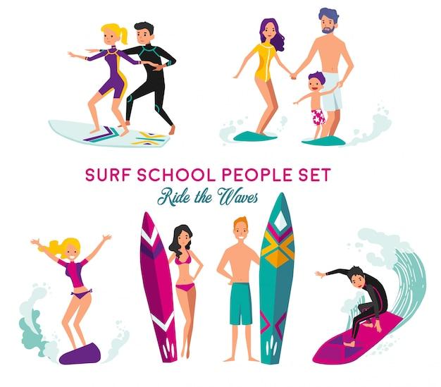 Surfschule dekorative elemente set Kostenlosen Vektoren