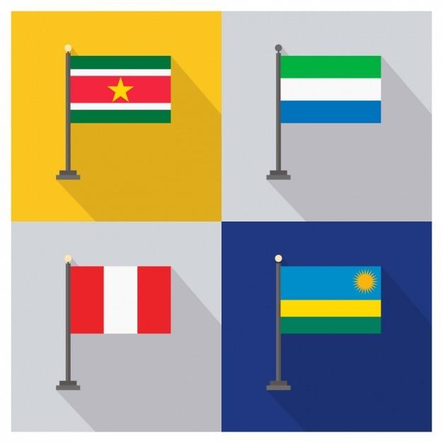 Surinam Sierra Leone Peru und Ruanda Flaggen Kostenlose Vektoren
